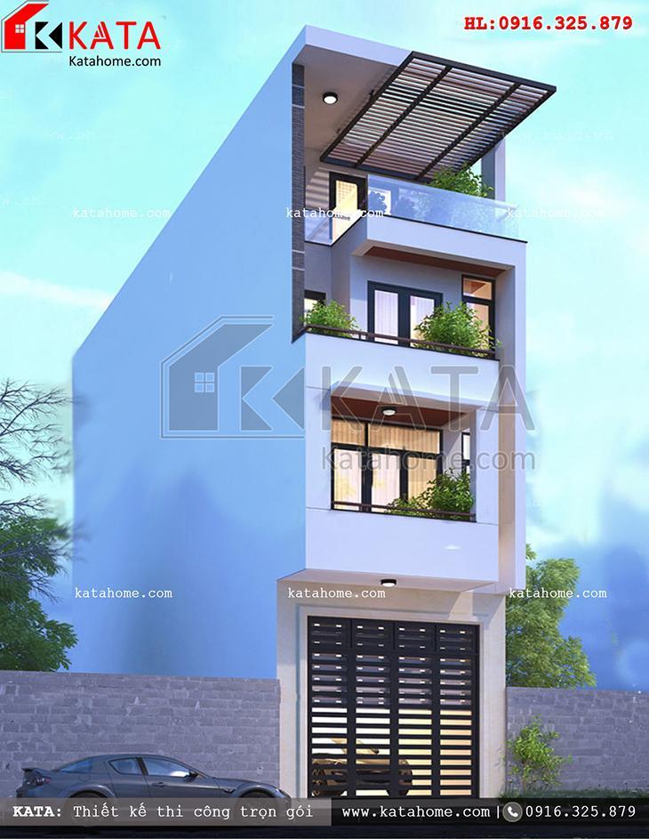 """Kiến trúc thiết kế nhà phố đẹp 4 tầng vô cùng lạ mắt với các chi tiết kiến trúc có """"số đo vàng"""""""