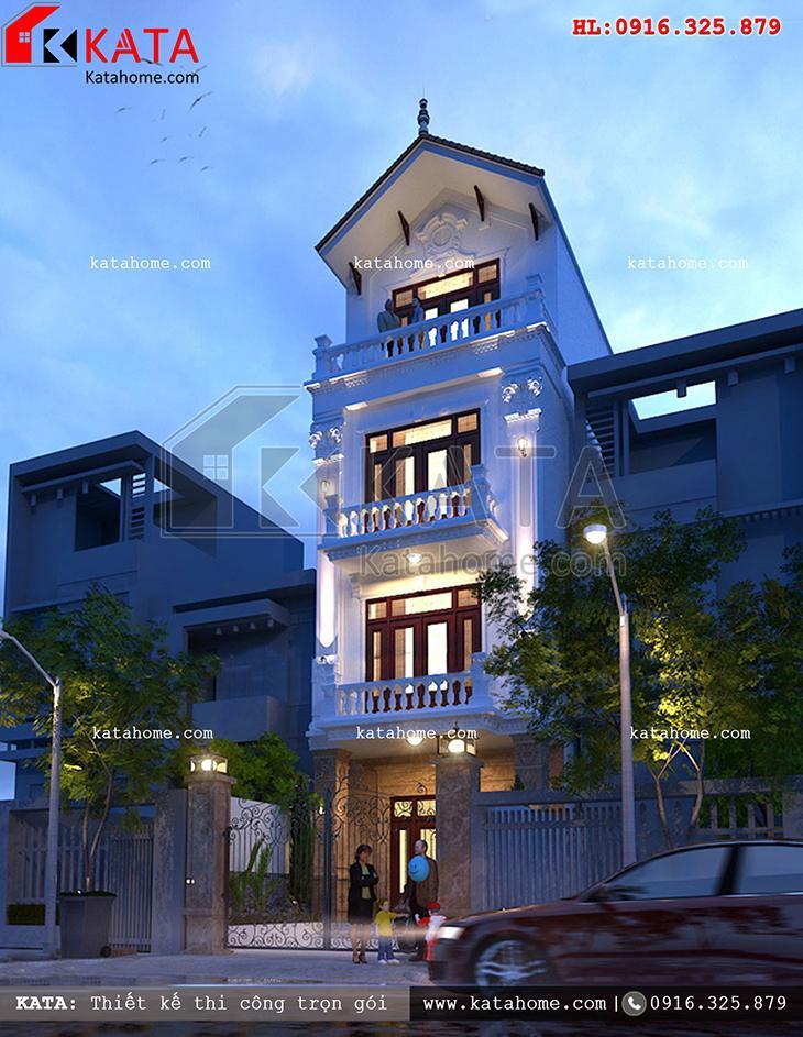 Phối cảnh ban đêm của thiết kế mẫu nhà phố 4 tầng đẹp kiến trúc Pháp tân cổ điển