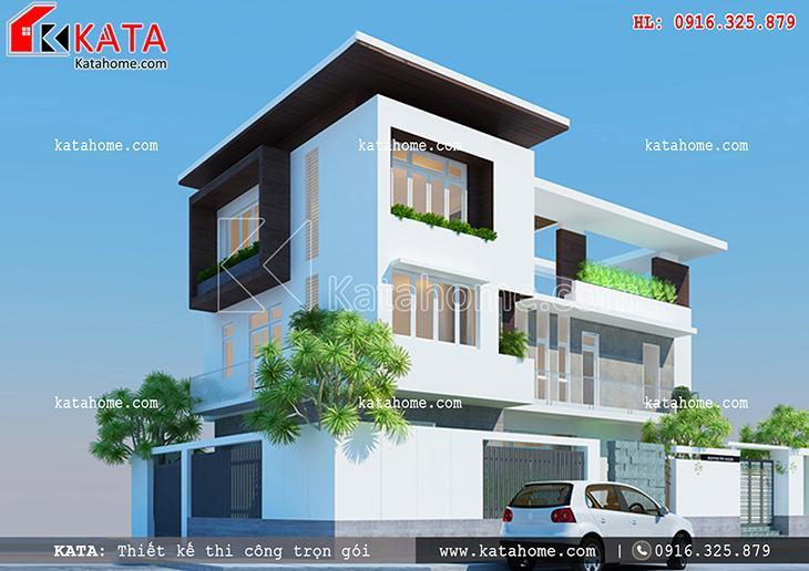 Phối cảnh thiết kế kiến trúc của dự án thi công nhà ở trọn gói biệt thự 3 tầng hiện đại
