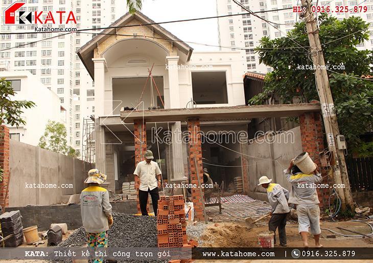 Phối cảnh thiết kế kiến trúc phần thô của dự án thi công biệt thự trọn gói 3 tầng hiện đại