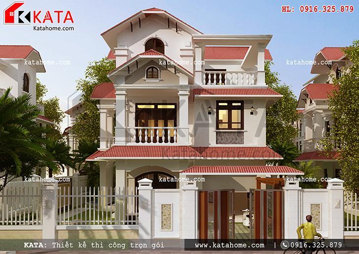 Phối cảnh tổng thể của mẫu biệt thự mái Thái 3 tầng hiện đại - Mã số: BT 37036