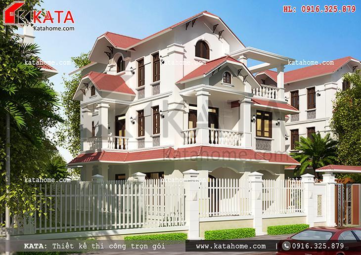 Phối cảnh mặt tiền của mẫu biệt thự 3 tầng mái Thái hiện đại - Mã số: BT 37036