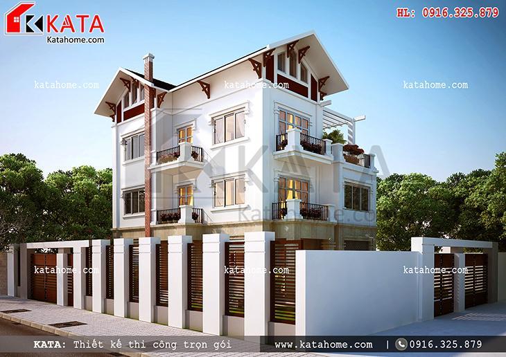 Phối cảnh thiết kế kiến trúc của mẫu biệt thự 4 tầng hiện đại