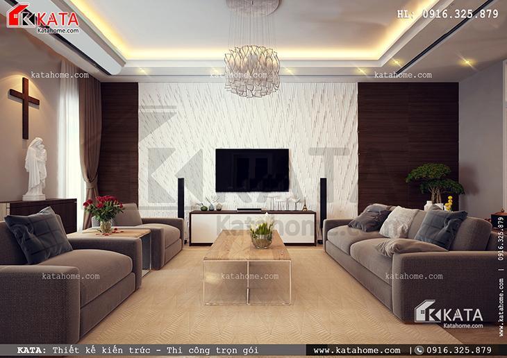 Không gian tiếp khách của mẫu nhà biệt thự 4 tầng đẹp, hiện đại là diện mạo chính của nội thất biệt thự