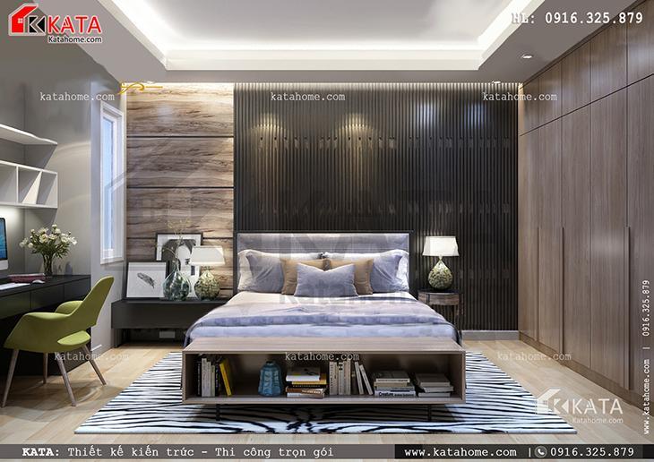 Nội thất phòng ngủ của căn biệt thự 4 tầng vô cùng ấm cúng và tiện nghi