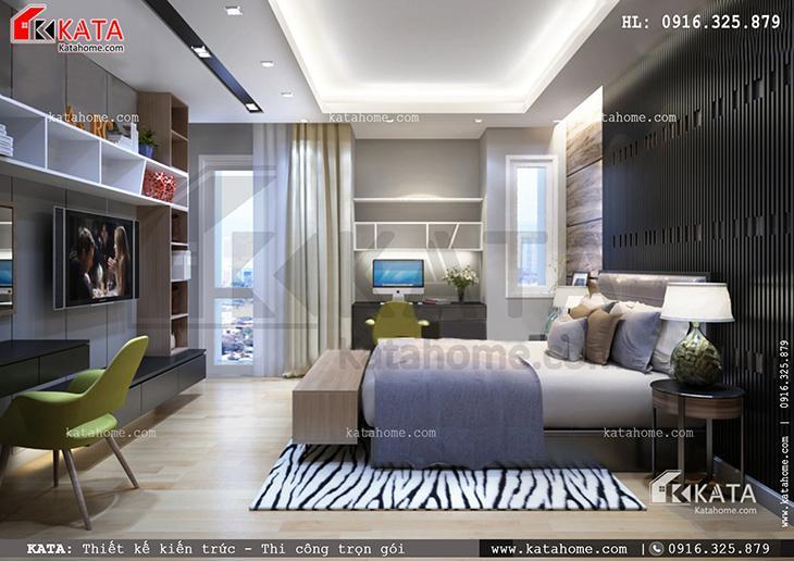 Biệt thự 4 tầng với phòng ngủ Master sử dụng tone màu xám giúp nâng tầm đẳng cấp cho căn phòng