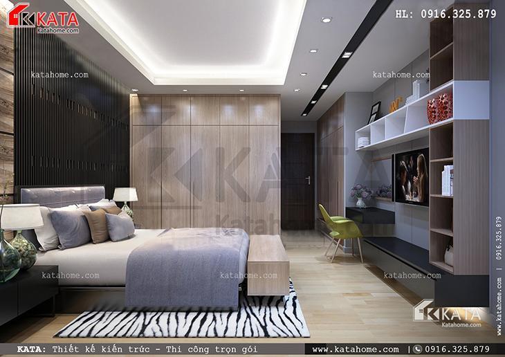 Vẻ đẹp nhẹ nhàng và thanh tao trong căn phòng ngủ của mẫu nhà biệt thự 4 tầng đẹp