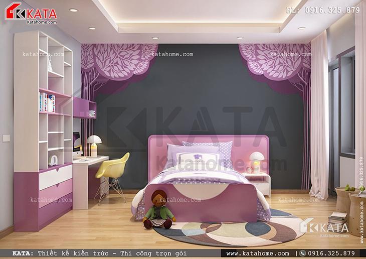 Nội thất phòng ngủ con gái đơn giản, hiện đại nhưng không kém phần tiện nghi