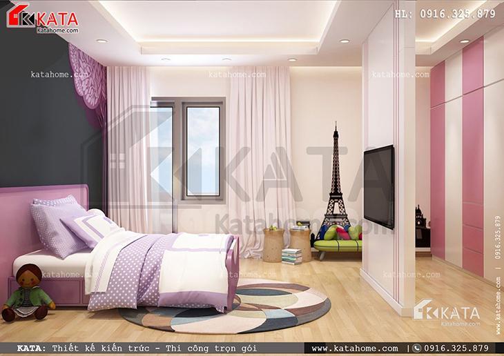 Phòng ngủ dành cho con gái của mẫu biệt thự 4 tầng đẹp được lựa tone màu hồng xinh xắn