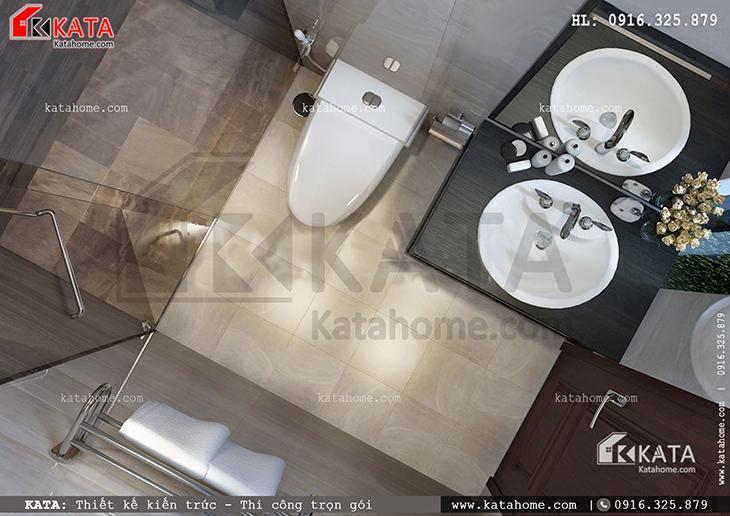 Phòng tắm của căn biệt thự 4 tầng được trang bị các thiết bị hiện đại và tiện nghi