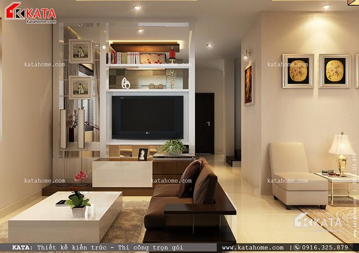 Phối cảnh chi tiết phòng khách của mẫu thiết kế biệt thự 1 tầng đẹp qua các góc chụp (2)