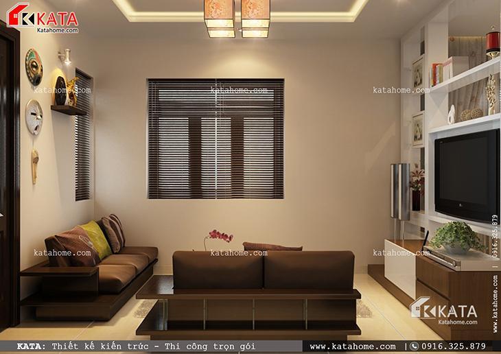 Phối cảnh chi tiết phòng khách của mẫu thiết kế biệt thự 1 tầng đẹp qua các góc chụp (1)