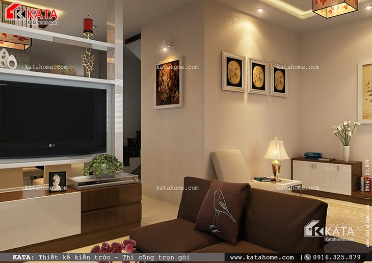 Phối cảnh chi tiết phòng khách của mẫu thiết kế biệt thự 1 tầng đẹp qua các góc chụp