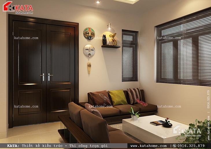 Phối cảnh chi tiết phòng khách của mẫu thiết kế biệt thự 1 tầng đẹp qua các góc chụp (3)