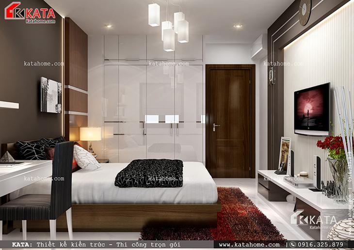 Nội thất phòng ngủ master sang trọng của căn biệt thự 1 tầng đẹp
