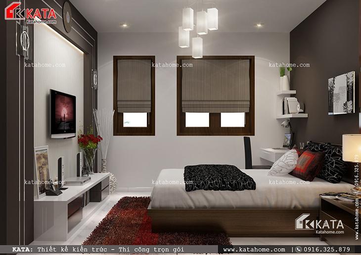 Nội thất phòng ngủ master sang trọng của mẫu nhà cấp 4 hiện đại tại Sơn La