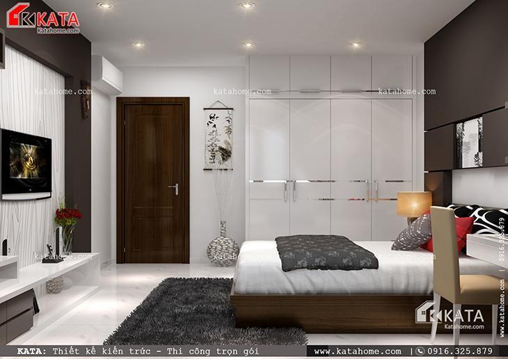Phối cảnh chi tiết phòng ngủ con trai của mẫu nhà cấp 4 hiện đại (1)