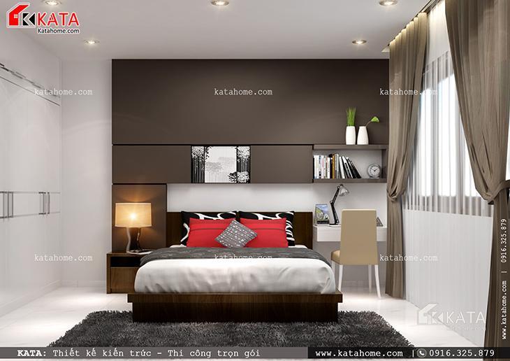 Phối cảnh chi tiết phòng ngủ con trai của mẫu nhà cấp 4 hiện đại