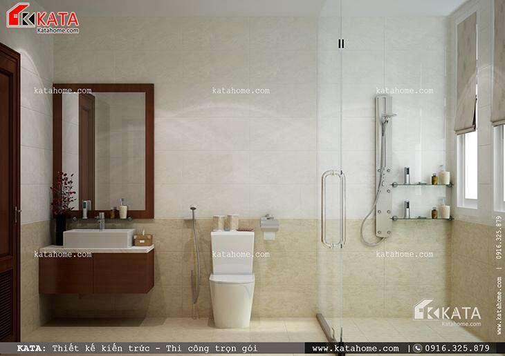 Phối cảnh nhà vệ sinh, nhà tắm vô cùng hiện đại của mẫu nhà cấp 4 hiện đại (4)
