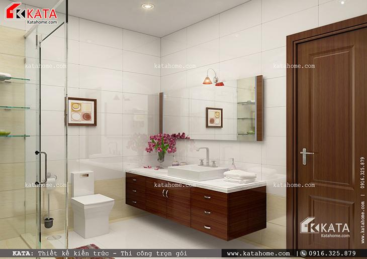 Phối cảnh nhà vệ sinh, nhà tắm vô cùng hiện đại của mẫu nhà cấp 4 hiện đại (2)