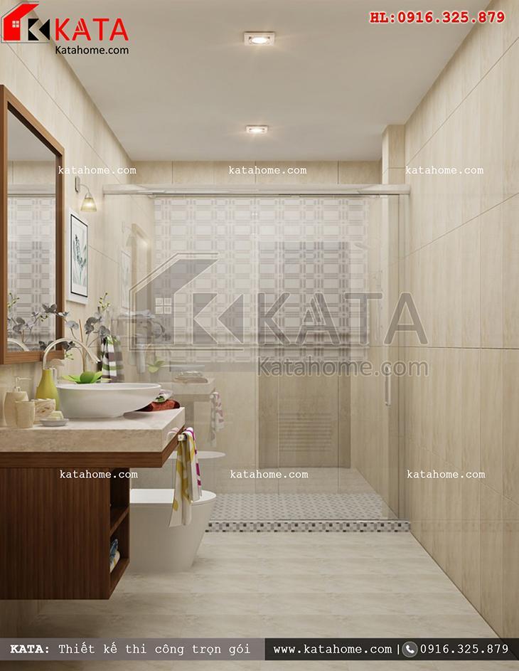 Phối cảnh nhà vệ sinh, nhà tắm vô cùng hiện đại của mẫu nhà cấp 4 hiện đại (1)