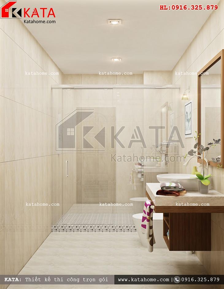 Phối cảnh nhà vệ sinh, nhà tắm vô cùng hiện đại của mẫu nhà cấp 4 hiện đại