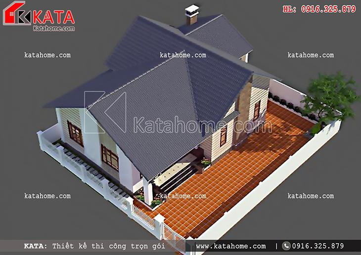 Mái nhà của mẫu nhà cấp 4 mái Thái được thiết kế theo kiến trúc mái thái