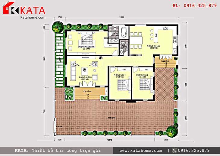 Mặt bằng công năng chi tiết cho mẫu nhà cấp 4 mái Thái