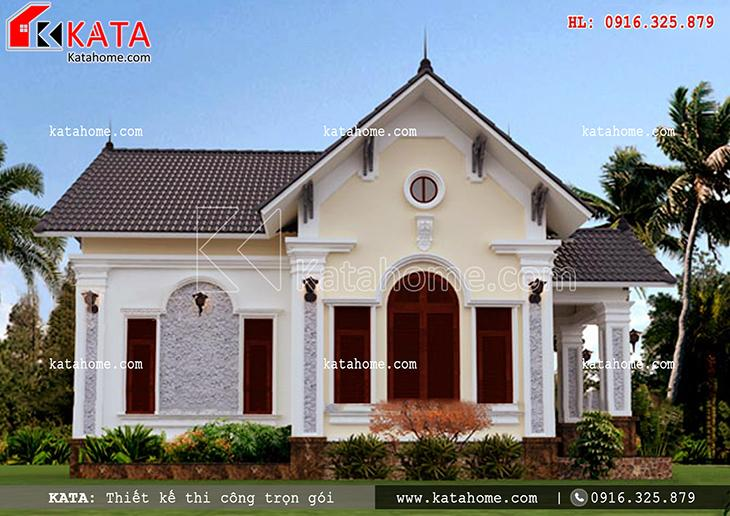 Phối cảnh sảnh phụ của căn nhà cấp 4 mái Thái đẹp với đường nét sắc xảo