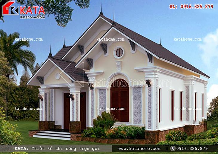 Căn nhà mái Thái cấp 4 được chú trọng vào thiết kế sân vườn tạo cảm giác thư thái cho gia chủ