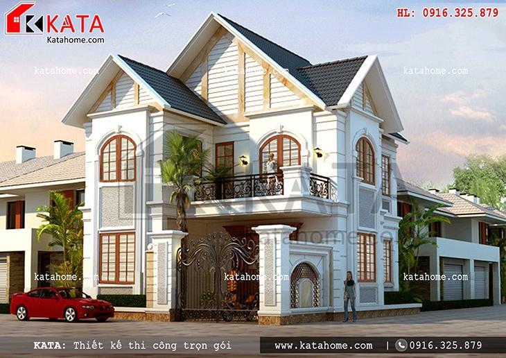 Phối cảnh bản vẽ nhà biệt thự 2 tầng với phong cách kiến trúc hiện đại