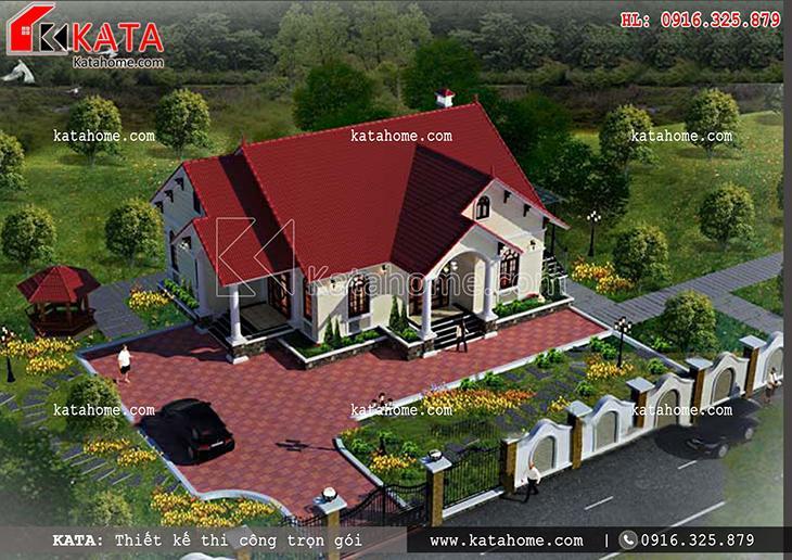 Thiết kế biệt thự 1 tầng theo kiến trúc mái Thái – Mã số: BT 15029 (4)