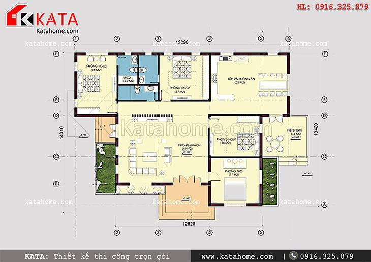 Thiết kế biệt thự 1 tầng theo kiến trúc mái Thái – Mã số: BT 15029 (5)