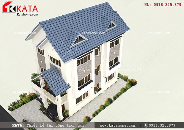 Toàn cảnh bản thiết kế mẫu biệt thự đẹp 3 tầng của gia đình anh Lương khi được nhìn từ trên cao xuống