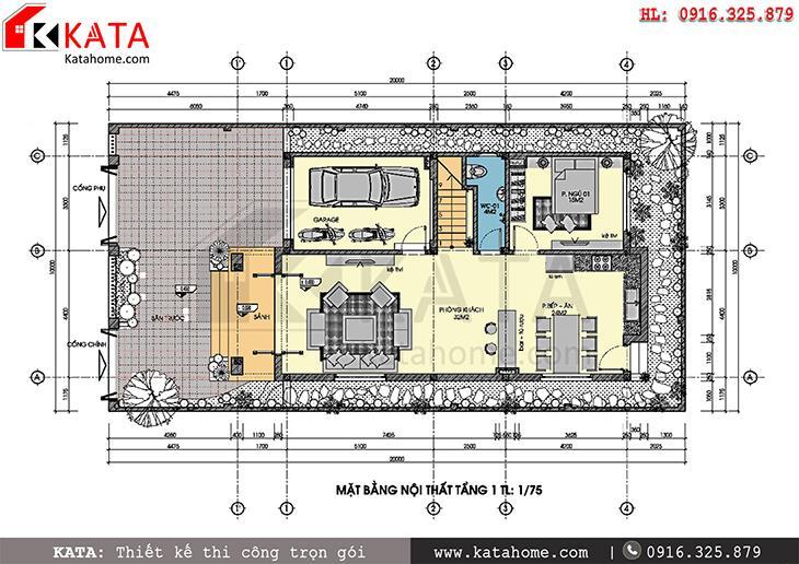 Mặt bằng công năng tầng 1 của bản thiết kế mẫu biệt thự đẹp 3 tầng