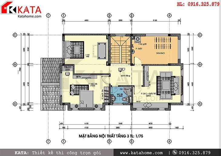 Mặt bằng công năng tầng 3 của bản thiết kế mẫu biệt thự đẹp 3 tầng