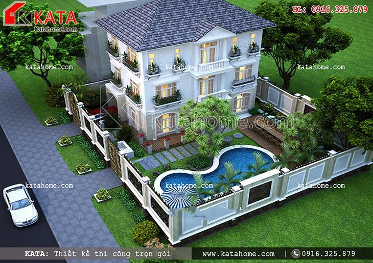Thiết kế biệt thự nhà vườn 3 tầng tại Quảng Ninh - Mã số: BT 37037 (2)