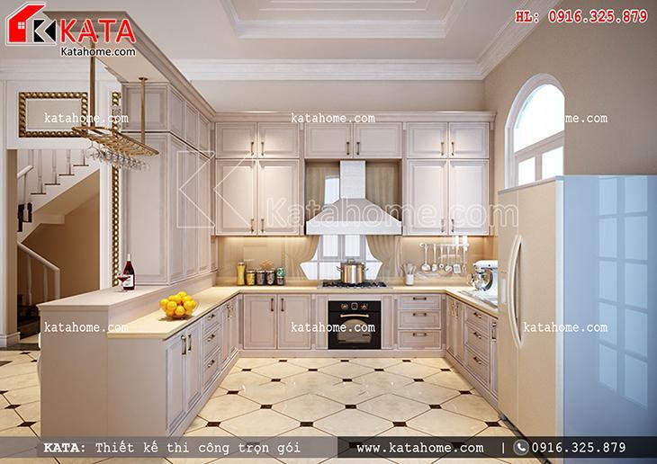 Một góc nhìn tổng thể khu vực nhà bếp của mẫu thiết kế biệt thự 3 tầng đẹp