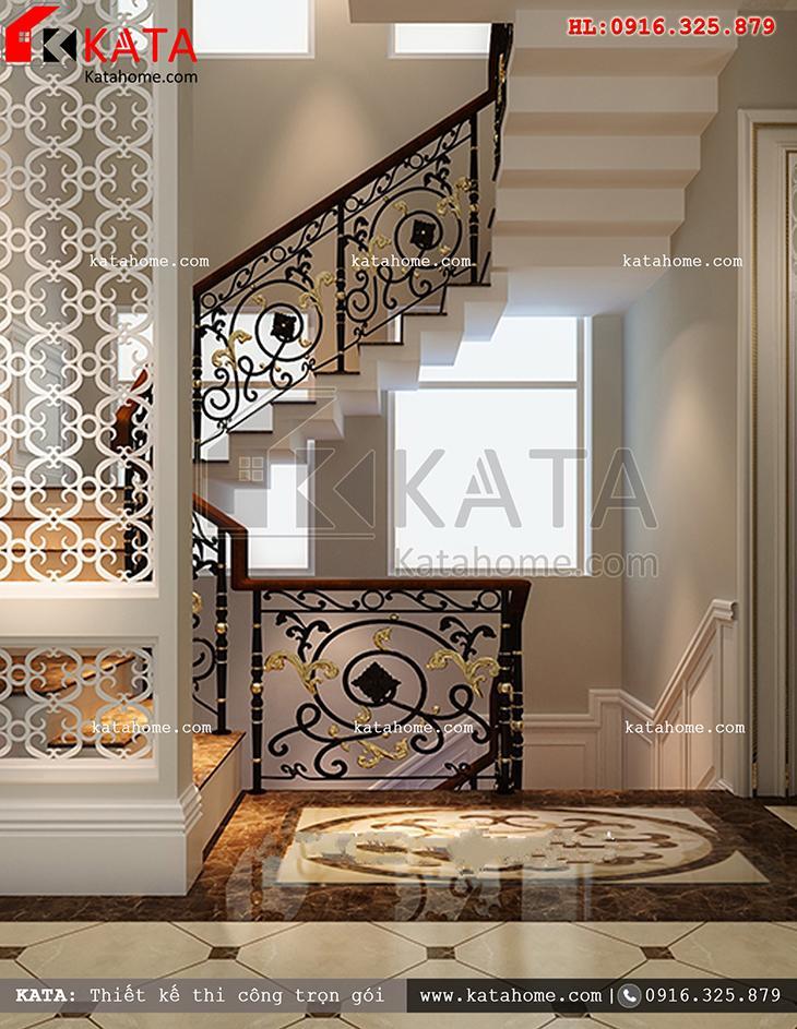 Khu vực cầu thang của mẫu thiết kế biệt thự nhà vườn 3 tầng