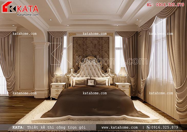 Phối cảnh phòng ngủ sang trọng, đẳng cấp của mẫu thiết kế biệt thự nhà vườn 3 tầng