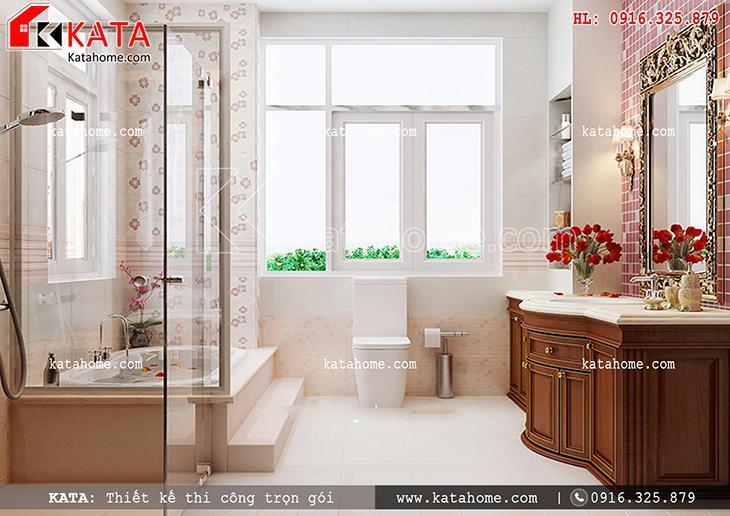 Phối cảnh chi tiết phòng tắm của mẫu thiết kế biệt thự nhà vườn 3 tầng