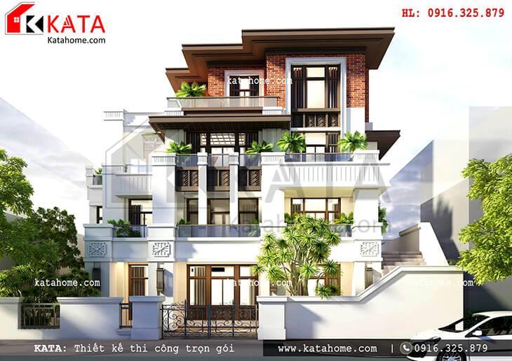 Mẫu biệt thự 4 tầng đẹp theo phong cách hiện đại