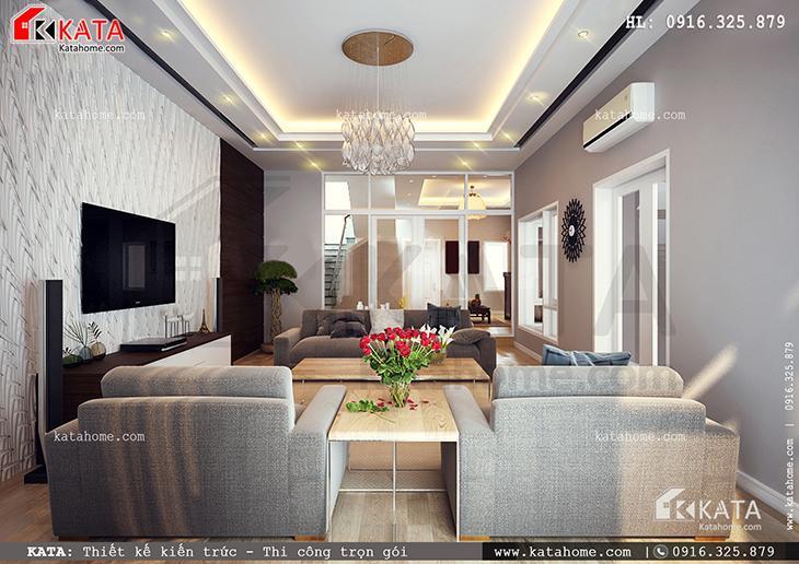 Phòng chức năng của mẫu thiết kế nhà ống đẹp 4 tầng hiện đại tuy đơn giản nhưng đầy đủ tiện nghi