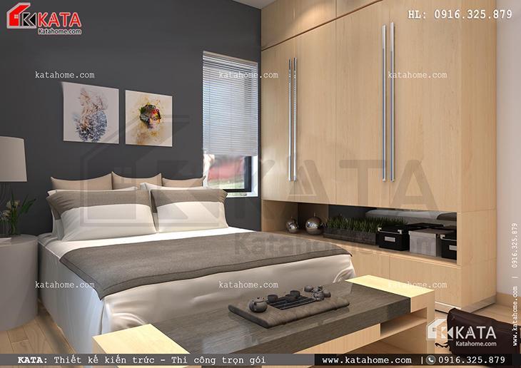 Phòng ngủ của mẫu thiết kế nhà ống 4 tầng đẹp hiện đại được thiết kế với tone màu đối lập (2)