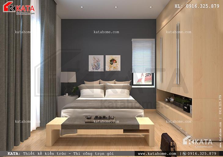 Phòng ngủ của mẫu thiết kế nhà ống 4 tầng đẹp hiện đại được thiết kế với tone màu đối lập (1)