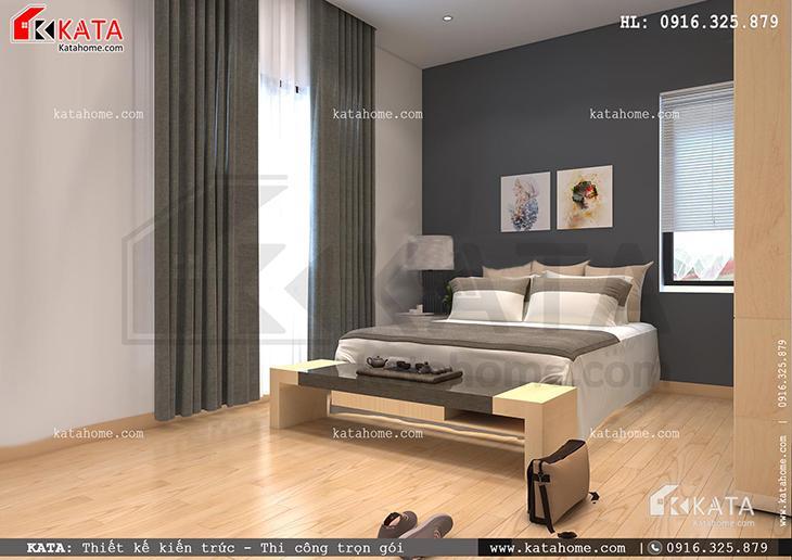 Phòng ngủ của mẫu thiết kế nhà ống 4 tầng đẹp hiện đại được thiết kế với tone màu đối lập