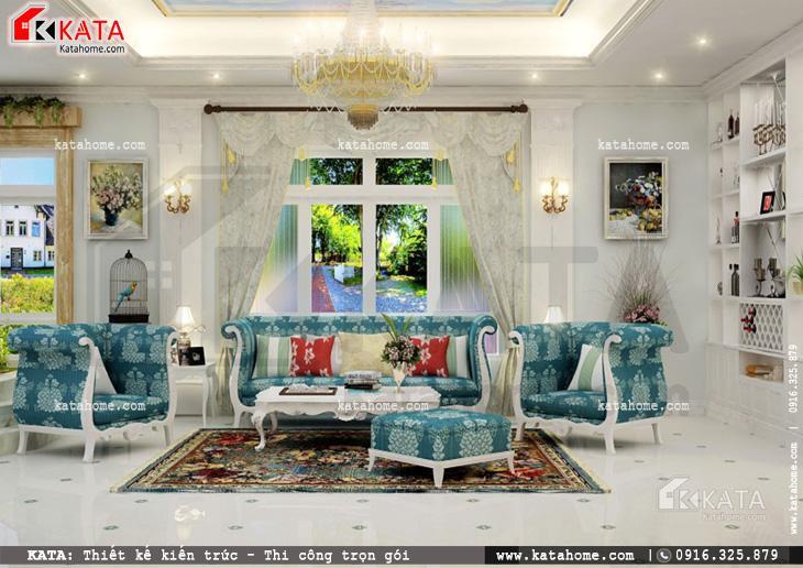 Thiết kế nội thất biệt thự tân cổ điển cho không gian tiếp khách vô cùng nổi bật với tone màu xanh