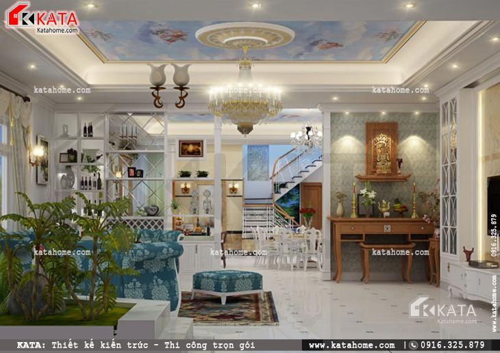 Phối cảnh sau khi thiết kế nội thất biệt thự tân cổ điển cho phòng khách