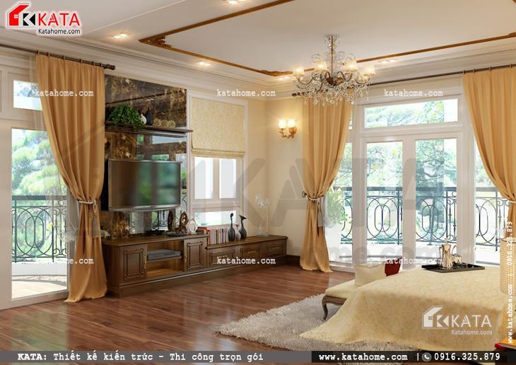 Thiết kế nội thất biệt thự tân cổ điển cho phòng ngủ đơn giản và nhẹ nhàng 2