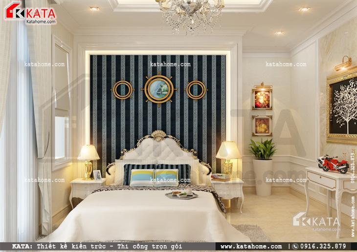 Thiết kế nội thất biệt thự tân cổ điển cho phòng ngủ đôi đơn giản và sang trọng 1